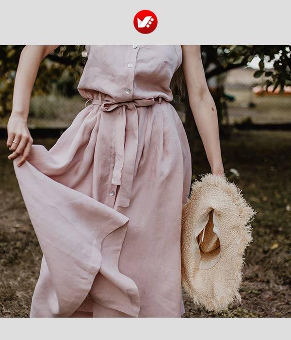 لباس زنانه با پارچه لینن